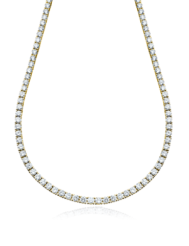 Classic Tennis Necklace Finished in 18kt Yellow Gold - 16""