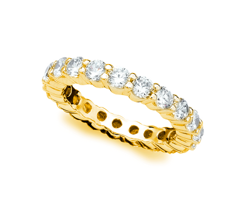 Brilliant Round Cut Eternity Band - 3 mm - Finished in 18kt Yellow Gold