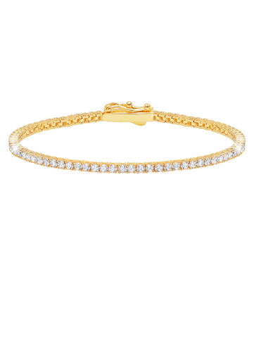 Classic Small Brilliant Tennis Bracelet Finished in 18kt Yellow Gold
