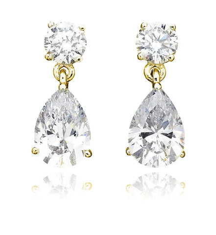 Classic Pear Drop Earrings 3.0 Cttw Finished in 18kt Yellow Gold