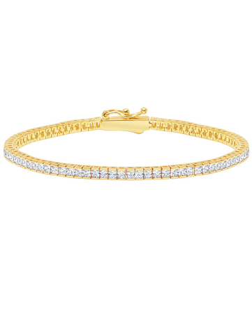 Classic Small Princess Tennis Bracelet Finished in 18kt Yellow Gold