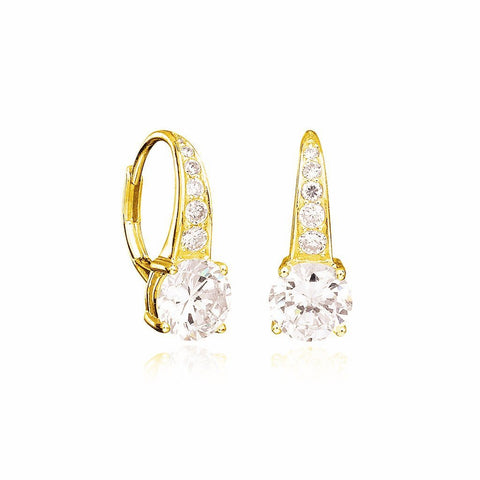 Accented Brilliant Cut Earrings Finished in 18kt Gold