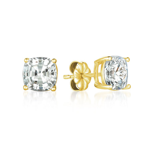 Solitaire Asscher Earrings Finished in 18kt Yellow Gold - 4.0 Cttw