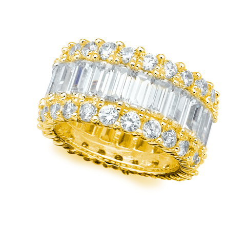 Baguette Eternity Band Finished in 18kt Yellow Gold