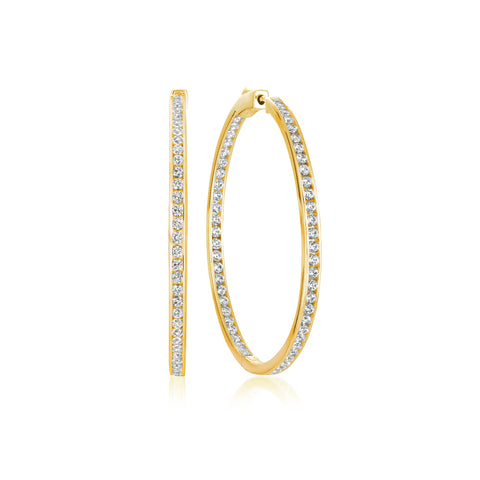 Gold Classic Inside Out cubic zirconia Hoop Earrings