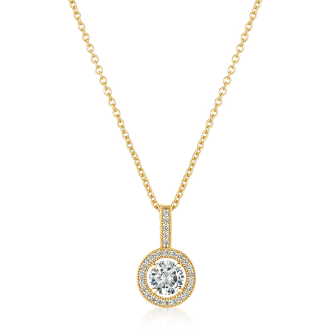 Brilliant Cut Halo Pendant Finished in 18kt Yellow Gold