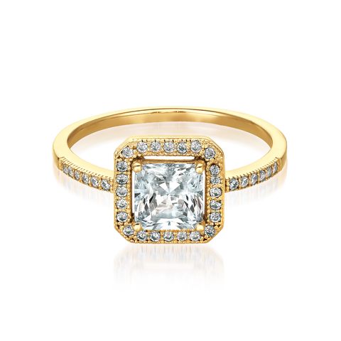 Princess Cut Halo Ring Finished in 18kt Yellow Gold