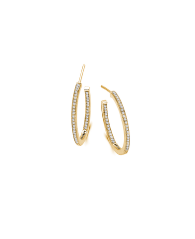 Small Pave Open Ended Hoop Earrings Finished in 18kt Yellow Gold