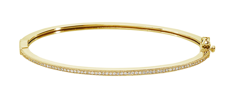Pave Hinge Bangle Finished in 18kt Yellow Gold