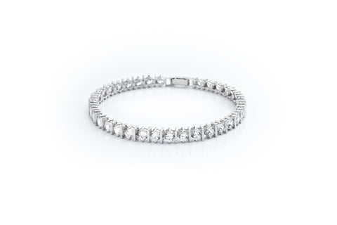 Classic Bar Tennis Bracelet Finished in Pure Platinum
