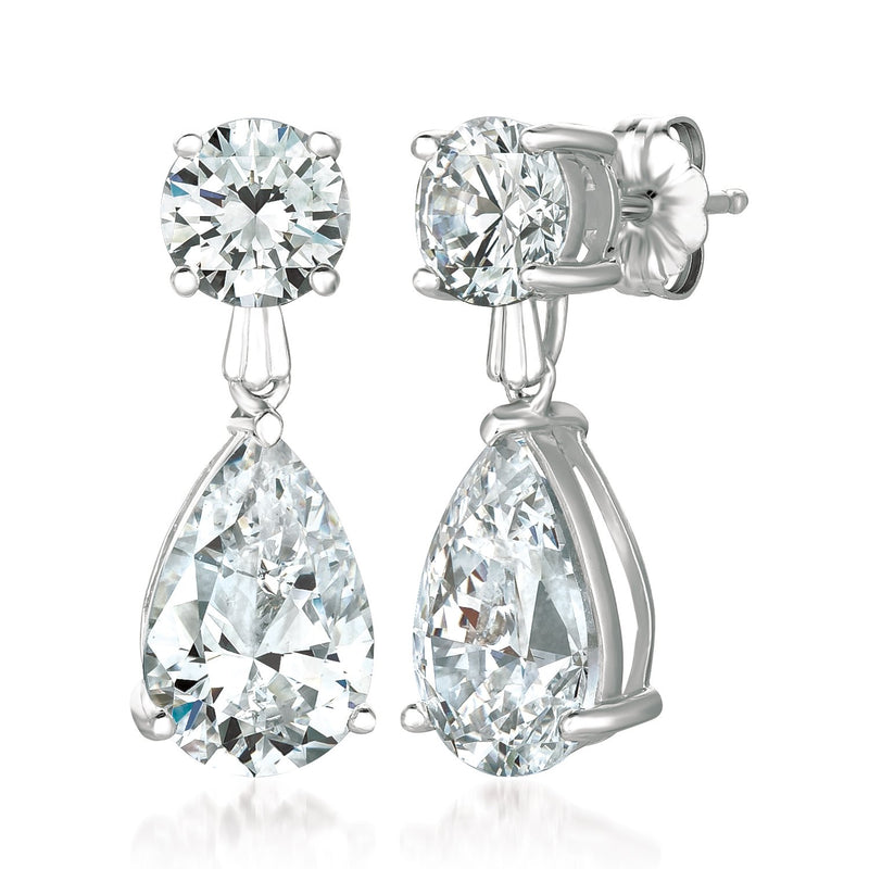 Classic Pear Drop Earrings Finished in Pure Platinum