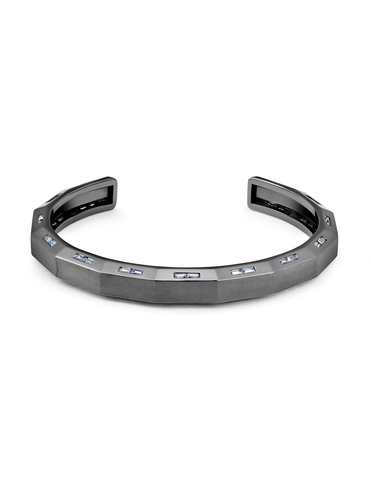 Mens Bolt Cuff Bangle with Baguettes Finished in Black Rhodium