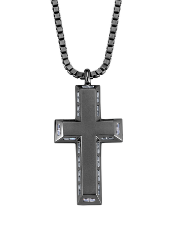 Mens Matte Box Chain Cross Necklace with Baguettes Finished in Black Rhodium