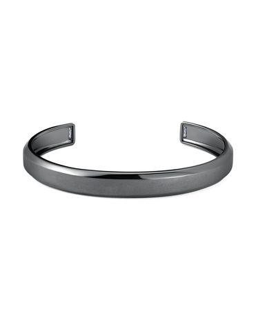Mens Smooth Cuff Bangle with Baguettes Finished in Black Rhodium