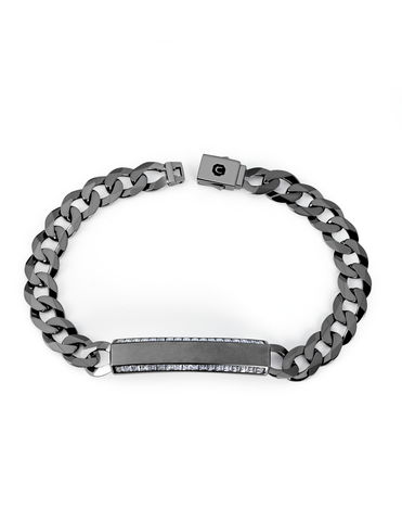 Mens Matte Curb Chain ID Bracelet with Brilliant Center Finished in Black Rhodium