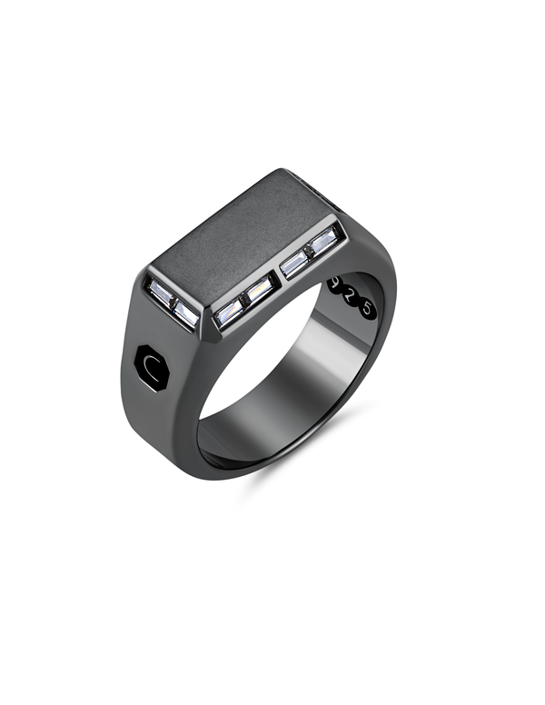 Mens Small Signet Ring with Baguettes Finished in Black Rhodium
