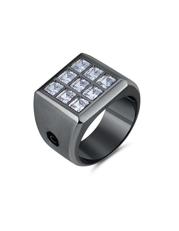 Mens 9 Stone Square Cut Signet Ring Finished in Black Rhodium.