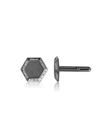 Mens Octagon Cufflinks accented with Baguettes finished in Black Rhodium