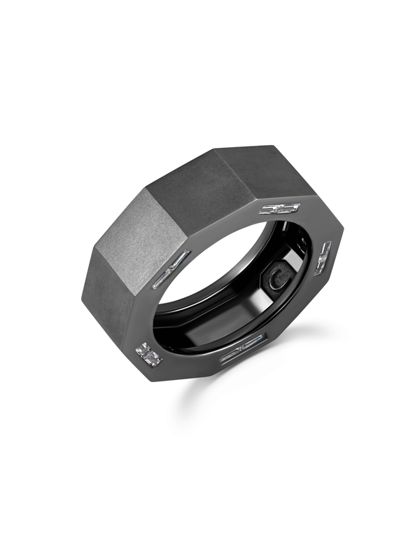 Mens Matte Octagon ring with inlayed Side Baguettes Finished in Black Rhodium