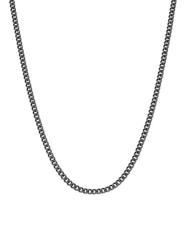 Mens Matte Curb Chain Necklace Finished in Black Rhodium