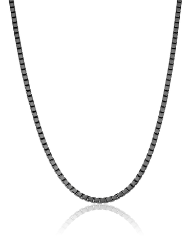 Mens Matte Box Chain Necklace Finished in Black Rhodium