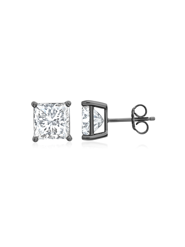 Mens 6.00 Princess Cut CZ Stud In Black Rhodium