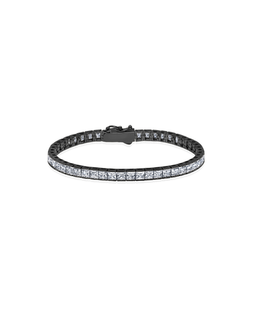 Mens Square Cut Tennis Bracelet Finished in Black Rhodium