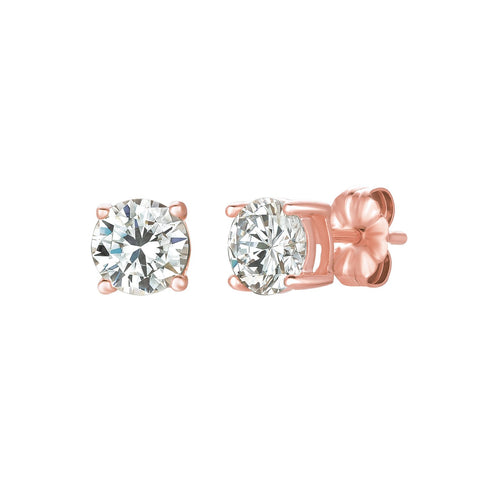 Solitaire Brilliant Stud Earrings Finished in 18kt Rose Gold - 1.5 Cttw