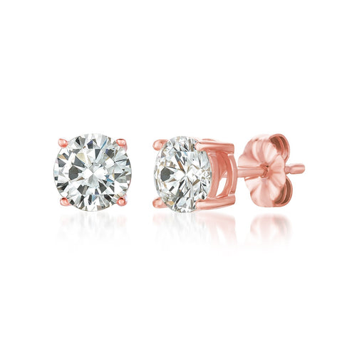 Solitaire Brilliant Stud Earrings Finished in 18kt Rose Gold - 2.0 Cttw