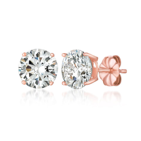Solitaire Brilliant Stud Earrings Finished in 18kt Rose Gold - 4.0 Cttw