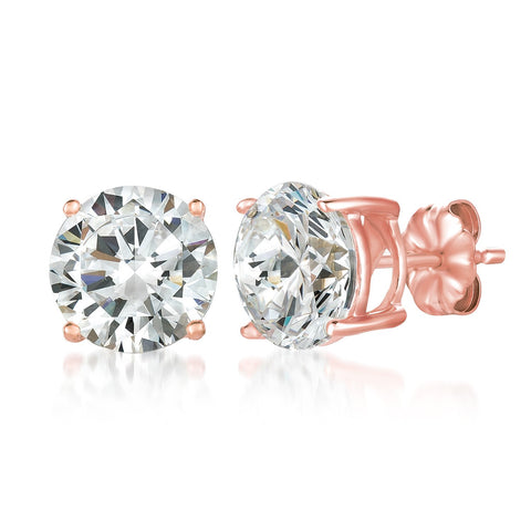 Solitaire Brilliant Stud Earrings Finished in 18KT Rose Gold - 6.0 Cttw