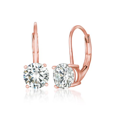 Solitaire Brilliant Cut Leverback Drop Earrings Finished in 18kt Rose Gold
