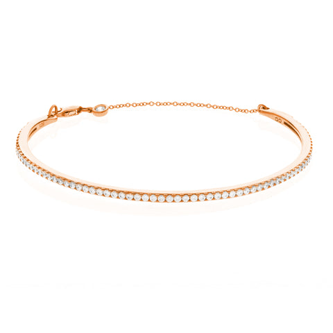 Pav?© Chain Bangle Finished in 18KT Rose Gold