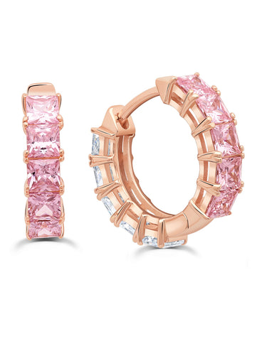 Duo Hoops finished in 18KT Rose Gold - 13 mm with Pink and Clear Stones