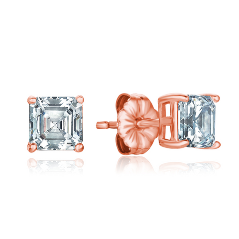 Solitaire Asscher Earrings Finished in 18kt Rose Gold  - 2.0 Cttw