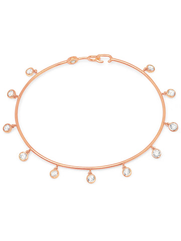 Bezel Set Charm Bangle Finished in 18kt Rose Gold