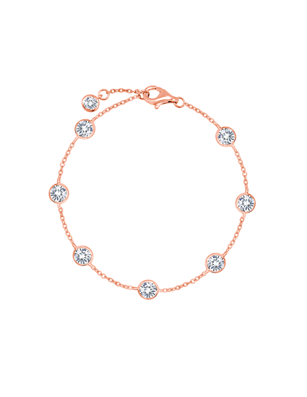 Large Bezel Station Anklet Finished in 18kt Rose Gold