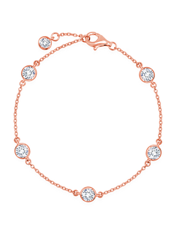 Bezel Set Station Bracelet Finished in 18kt Rose Gold - 4mm