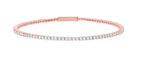 Flex Tennis Bracelet Finished in 18KT Rose Gold