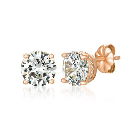 Royal Brilliant Cut Stud Earrings Finished in 18kt Rose Gold