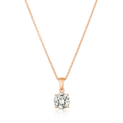 Royal Brilliant Cut Pendant Necklace Finished in 18KT Rose Gold