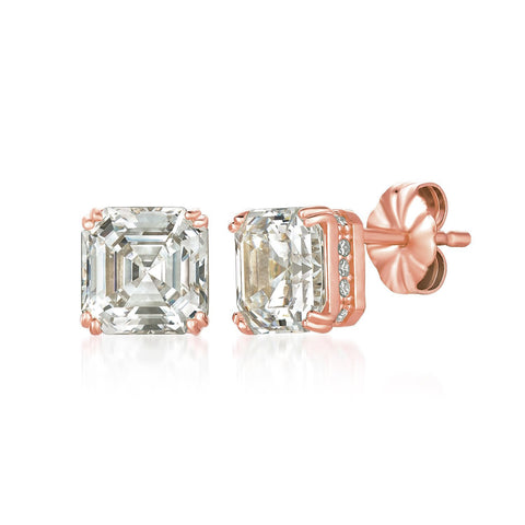 Royal Asscher Cut Stud Earrings Finished in 18kt Rose Gold
