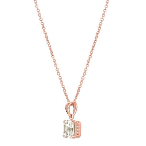 Royal Asscher Cut Pendant Necklace finished in 18KT Rose Gold