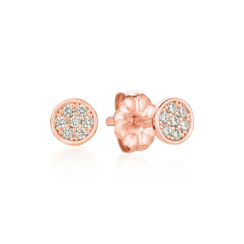 Sugar Drop Stud Earrings Finished in 18kt Rose Gold