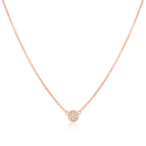 Single Sugar Drop Necklace Finished in 18kt Rose Gold