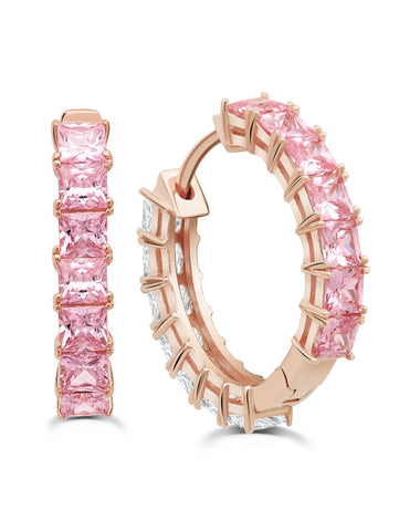 Rose Gold Duo Hoops - 22 mm with Pink and Clear Stones