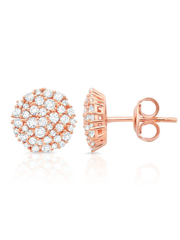 Round Glisten Stud Earrings finished in 18kt Rose Gold