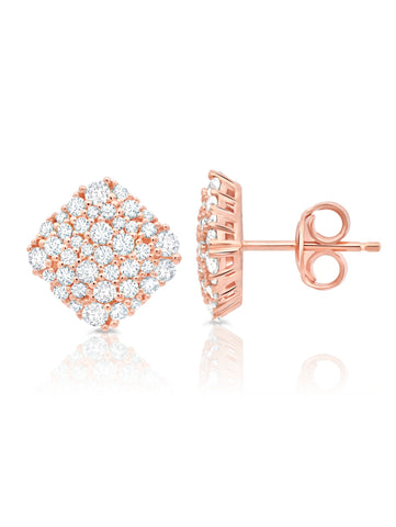 Cushion Cut Glisten Stud Earrings finished in 18kt Rose Gold