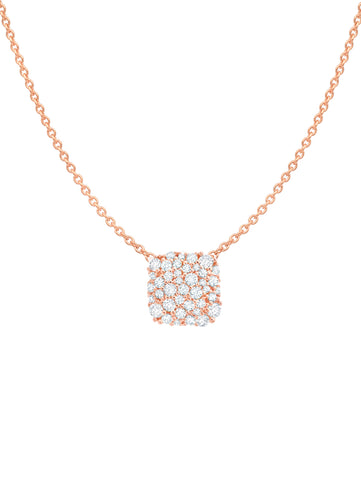 Rose gold cubic zirconia Cushion Cut Glisten Necklace