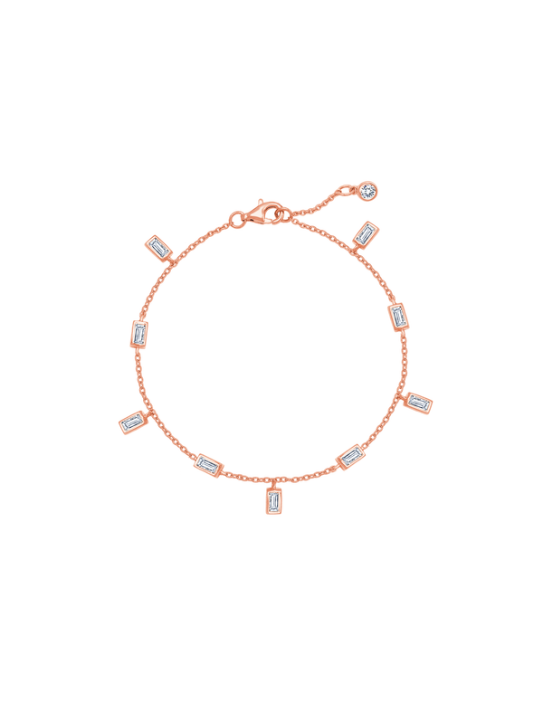 Baguette Anklet Finished in 18kt Rose Gold